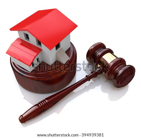 Home on white background and court gavel (done in 3d) in the design of information related to the auction - stock photo