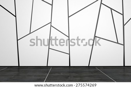 Home or Office Interior of Empty Room with White Wall Decorated with Geometric Pattern and Dark Tiled Floor. 3d Rendering. - stock photo
