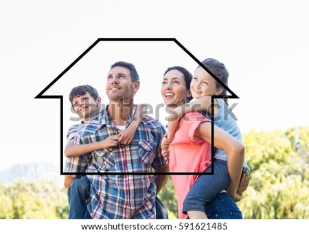 Home outline with happy family having fun at weekends