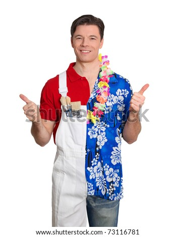 Home painter and man in hawaiian shirt with thumbs up - stock photo