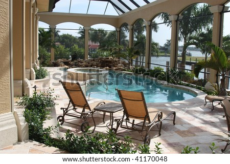 Home Patio and Pool - stock photo