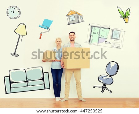 home, people, repair and real estate concept - happy couple holding cardboard boxes and moving to new place over interior doodles background - stock photo