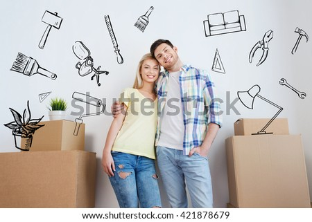 home, people, repair and real estate concept - smiling couple with big cardboard boxes moving to new place over doodles - stock photo