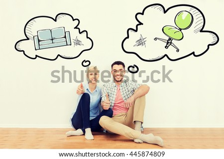 home, people, repair, moving and real estate concept - happy couple sitting on floor and showing thumbs up at new place with text bubbles and furniture doodles - stock photo