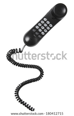 home phone with long coil cord on white background  - stock photo
