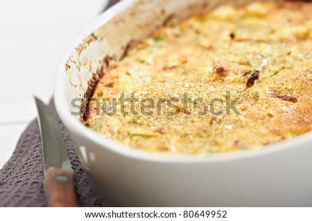 home pie with pepper onion, cheese and potatoes - stock photo