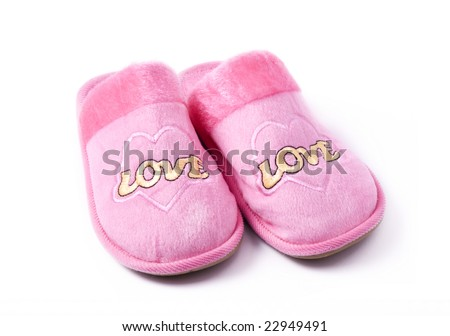 home pink slippers - stock photo