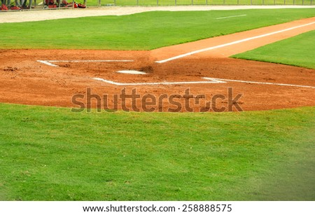 home plate and batters box at a baseball field - stock photo