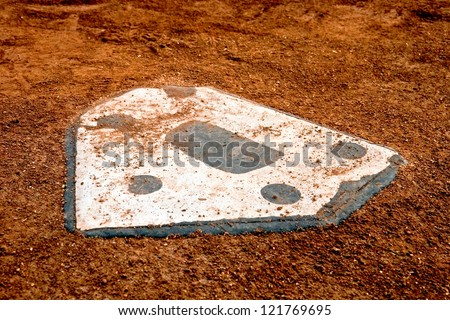 home plate at a baseball park - stock photo