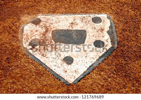 home plate on a baseball field - stock photo