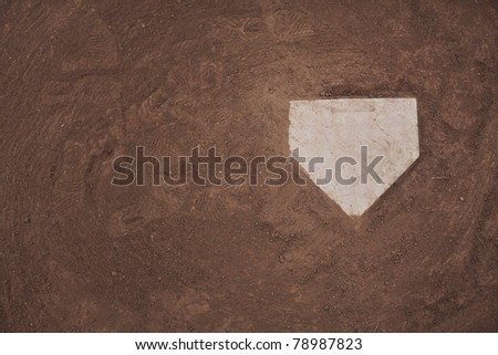 Home plate on a baseball field. Room for copy. - stock photo