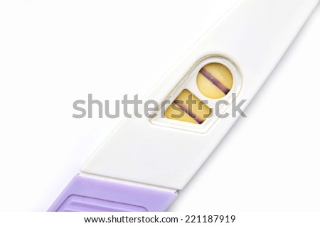 Home Pregnancy Test showing a positive result on white background - stock photo