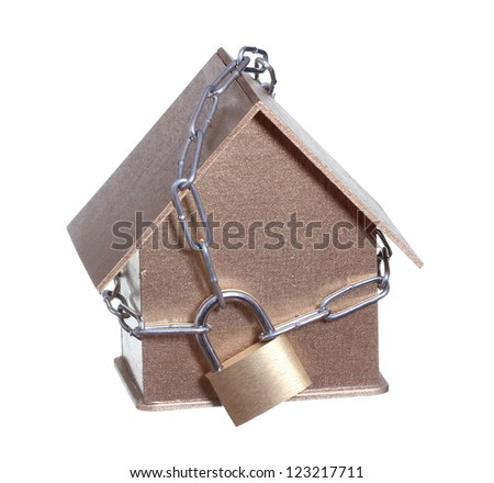 home protected with padlock and chain - stock photo