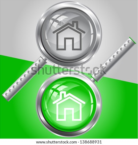 Home. Raster magnifying glass. - stock photo