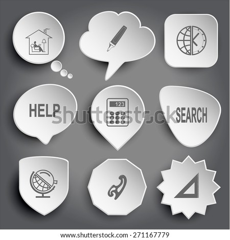 home reading, felt pen, globe and clock, help, calculator, search, globe and loupe, french curve, triangle ruler. White raster buttons on gray. - stock photo