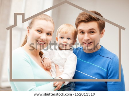 home, real estate and family concept - family with child and dream house - stock photo