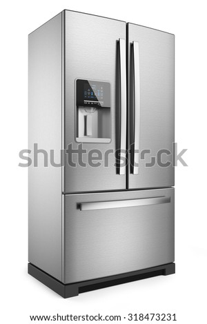 Home refrigerator. Silver home fridge isolated on white background 3d. - stock photo