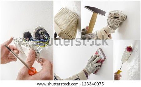 Home renovation collage, a set of five photos. - stock photo