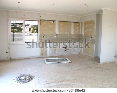 Home renovation kitchen room area - stock photo