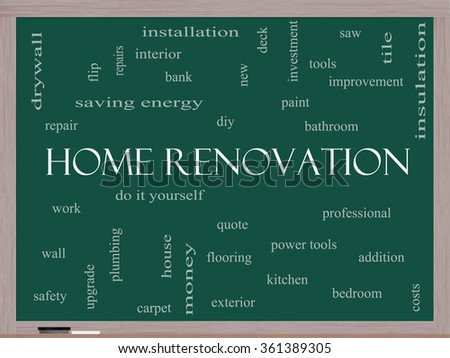 Home Renovation Word Cloud Concept on a Blackboard with great terms such as diy, kitchen, repair and more.