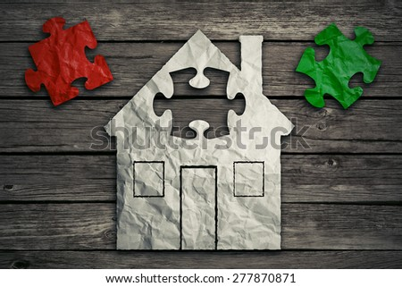 Home repair concept improvement symbol as crumpled paper shaped as residential structure with puzzle pieces. Icon for renovations maintenance. Real estate sale saving loan market. Housing industry - stock photo