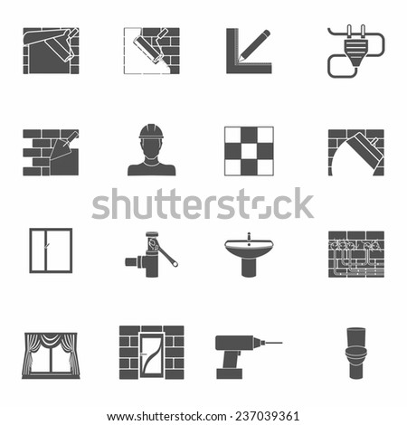 Home repair renovation and construction tools black icons set isolated  illustration - stock photo
