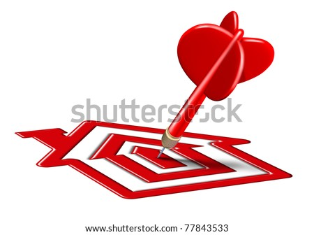 Home sale symbol represented by a red target landing on a bulls eye house shape representing the concept of home buying and real estate goals. - stock photo