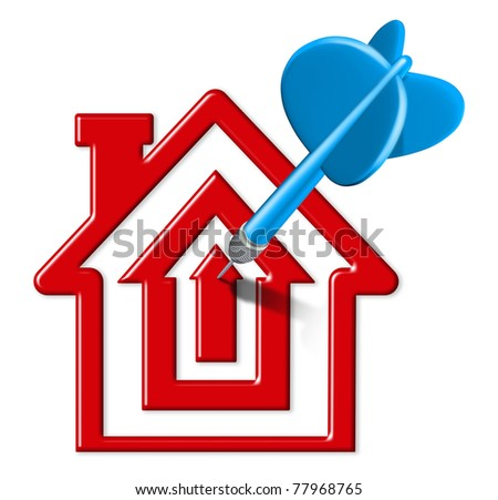 Home sales symbol represented by a blue dart landing on a bulls eye target that is in the shape of a house representing housing and home selling goals due to affordable interest costs. - stock photo