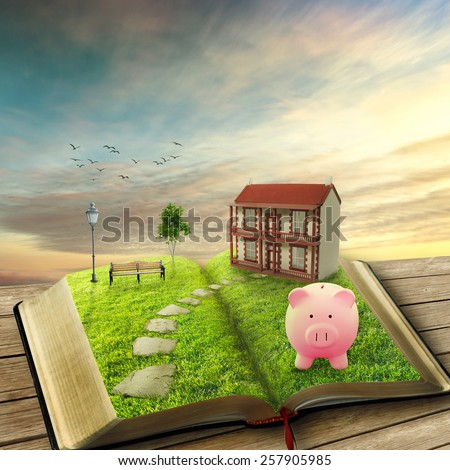 Home savings financial concept. Piggy bank and opened magic book covered with green grass and stoned path way. Fantasy world imaginary view. Original screensaver. Loan market housing industry mortgage - stock photo