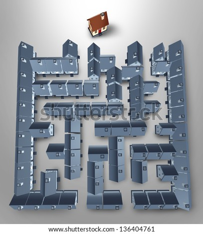 Home search and solutions as a real estate concept with a maze or labyrinth made of a group of grey homes and a perfect family house at the end of the puzzle as a result of residential advice.
