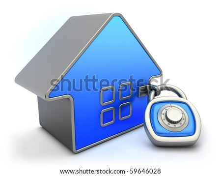 Home security concept. Blue house and padlock with combination code.