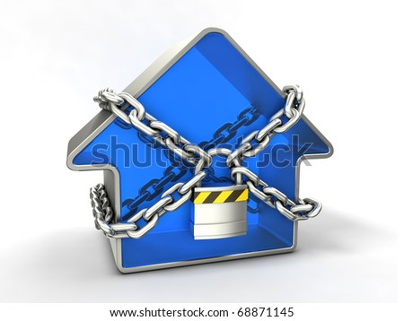 Home security concept. Blue house with chain and padlock. - stock photo