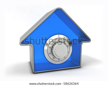 Home security concept. Blue house with combination safe lock. - stock photo