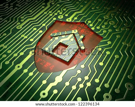 Home security concept: circuit board with shield icon, 3d render