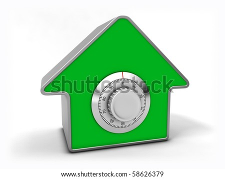 Home security concept. Green house with combination safe lock. - stock photo