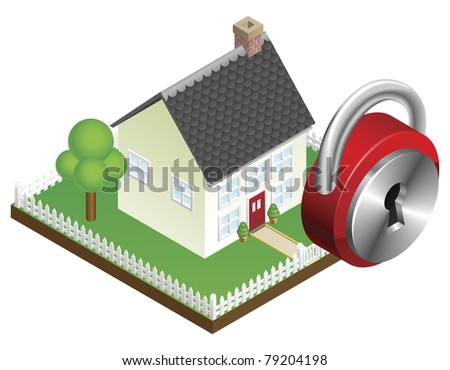 Home security system concept, suburban family home and padlock icon - stock photo