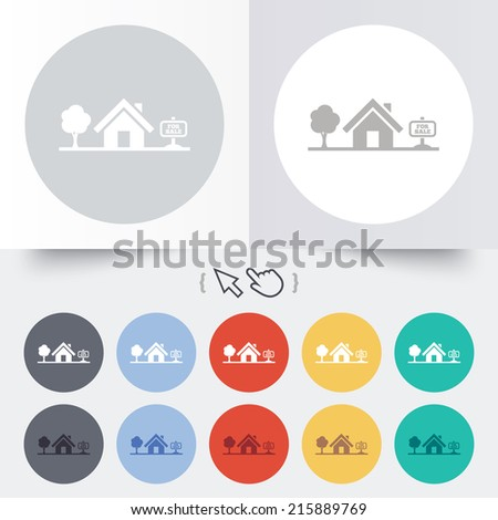 Home sign icon. House for sale. Broker symbol. Round 12 circle buttons. Shadow. Hand cursor pointer. - stock photo