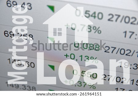 "Home sign & inscription ""Mortgage loan"" - stock photo"