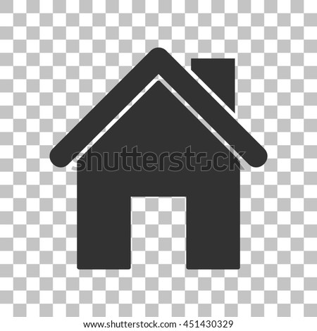 Home silhouette illustration. Dark gray icon on transparent background. - stock photo