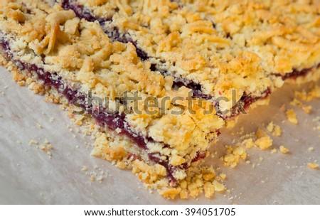 Home sweet cake with jam - stock photo