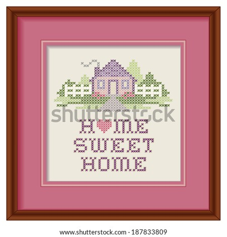Home Sweet Home Embroidery, cherry wood picture frame, lavender mat, cross stitch pattern sewing design in pastel colors, big red heart, needlework house, picket fence,  isolated on white background. - stock photo