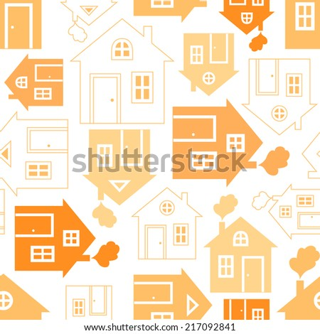 Home sweet home house silhouette and outline seamless pattern with window, door and smoke. Illustration for abstract geometric city design. Endless print background texture. Retro and vintage. - stock photo