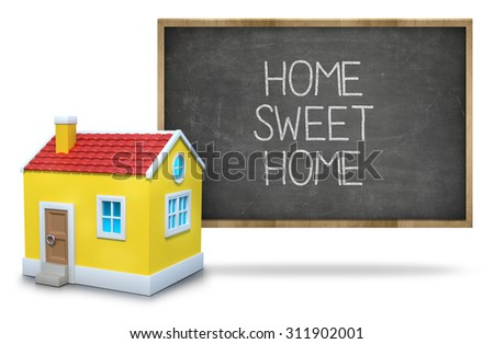 Home sweet home on black Blackboard with 3d house - stock photo