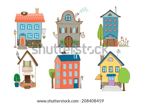 Home Sweet Home - set of hand-drawn houses in different architectural styles with plants and trees isolated on white - stock photo