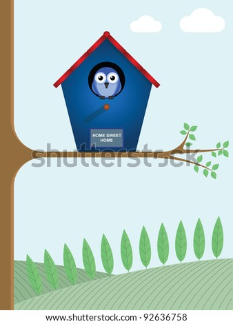 Home sweet home sign on a birdhouse - stock photo