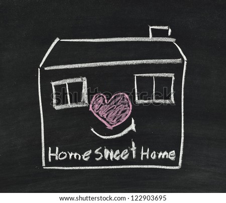home sweet home written on blackboard - stock photo