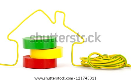 home symbol  made from electric wire isolated on white - stock photo