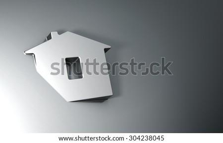 Home symbol on dark grey background 3d model  - stock photo