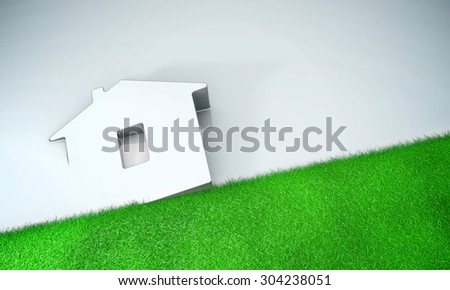 Home symbol with grass on grey background 3d model - stock photo