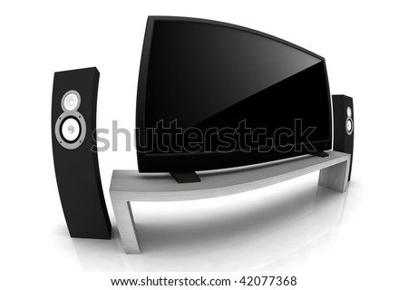 home theater / high definition television with speakers - isolated 3d render